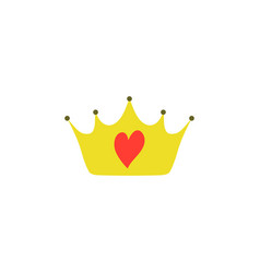 yellow girly princess royalty crown with heart vector image