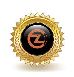 Zclassic cryptocurrency coin gold badge vector
