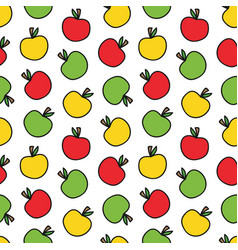 doodle colorful apples seamless pattern background vector image vector image