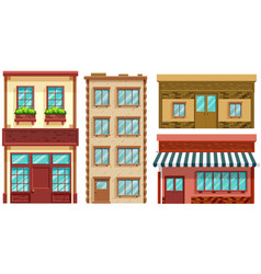 four different designs of shops and apartments vector image