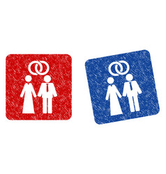 marriage persons grunge textured icon vector image vector image