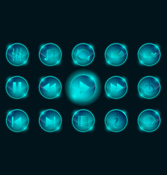 set of blue media player buttons vector image