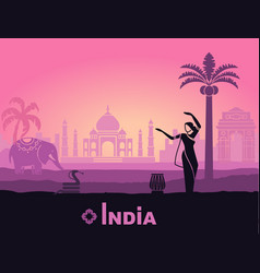 stylized landscape of india with the taj mahal an vector image