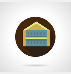 trade pavilion flat brown round icon vector image vector image