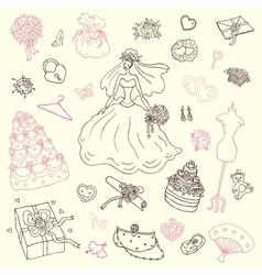 Wedding set Hand drawn vector image