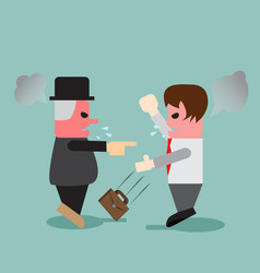young business man quarrel with his boss vector image