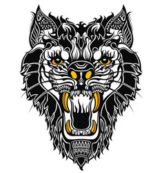 aggressive wolf on white vector image vector image