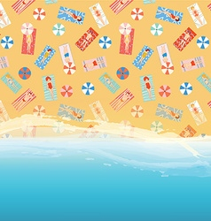 Beach background with ocean sand and people vector image