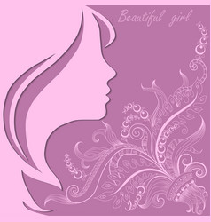 beautiful girl face with lace pattern vector image