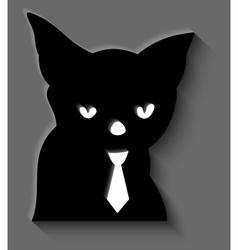 Black cat in a tie vector image vector image