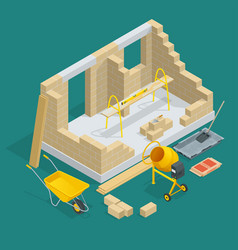 isometric construction of a brick house house vector image vector image