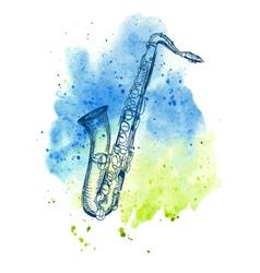 hand drawn classical alto saxophone vector image vector image