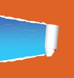 tearing paper and sea vector image