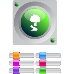 Tree color round button vector image vector image