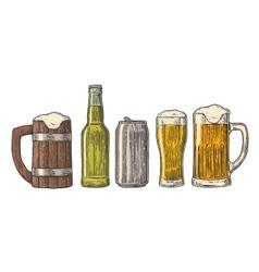 Beer glass mug can bottle hop vintage vector image vector image