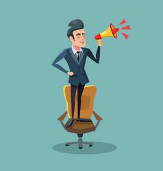 cartoon businessman on chair with megaphone vector image