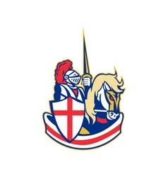 English Knight Riding Horse England Flag Retro vector image