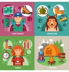 Hiking 2x2 Design Concept vector image