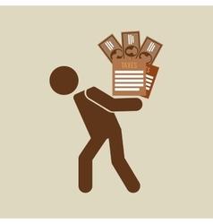 Silhouette man financial crisis taxes money vector