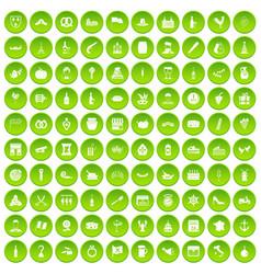 100 alcohol icons set green circle vector