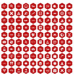 100 oceanologist icons hexagon red vector