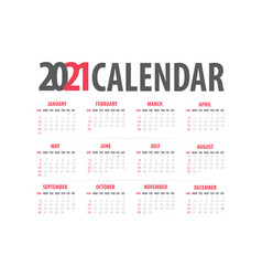 2021 monthly calendar template isolated white vector