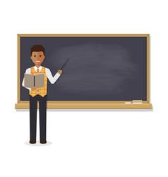 African teacher teaching student in classroom vector
