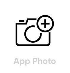 App photo icon editable outline vector