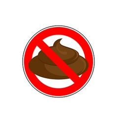 ban to shit Banning sign take a crap litter Red vector image