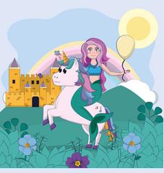 beautiful unicorn with mermaid vector image
