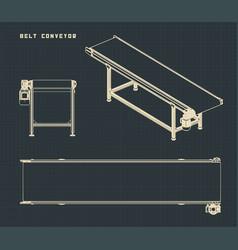 Belt conveyor drawings vector