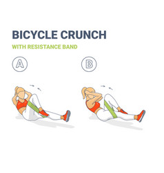 Bicycle crunch abs with resistance band girls vector