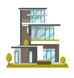 big modern house cartoon vector image