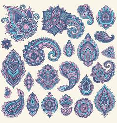 Big set colorful henna floral elements vector