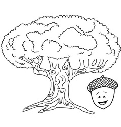black and white oak tree vector image