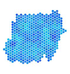 Blue hexagon sudan map vector