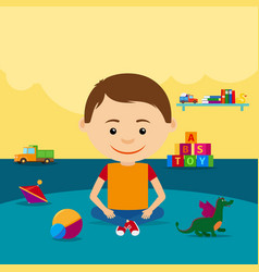 boy sitting on floor with toys vector image