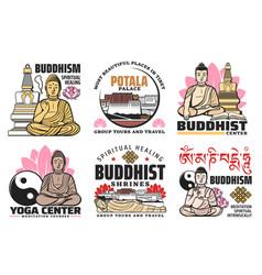 Buddhism religion buddha lotus palace icons vector