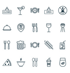Cafe icons set with platter cutlery cutlery and vector
