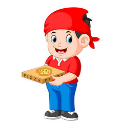 Cheerful guy from delivery service in red t-shirt vector