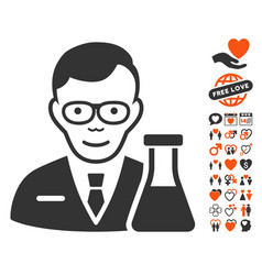 chemist icon with lovely bonus vector image