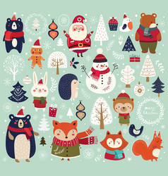 christmas big collection vector image