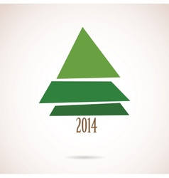 christmas card with abstract tree for 2014 vector image