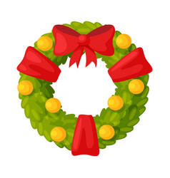christmas wreath with ribbons balls and red bow vector image