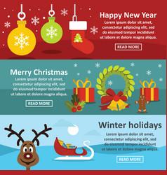 christmas year banner horizonatal set flat style vector image