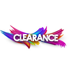 clearance paper poster with colorful brush strokes vector image