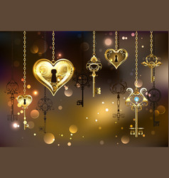 closed heart with keys vector image