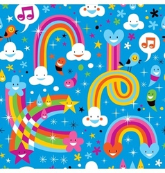 Clouds rainbows rain drops hearts cute pattern vector
