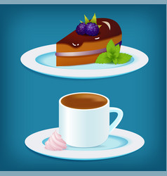 coffee cup with blackberry cake and mint vector image