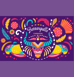 Colorful poster colombian barranquilla carnival vector